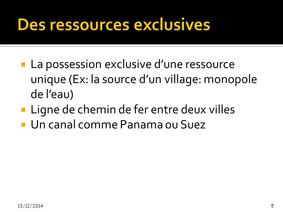  La possession exclusive d'une ressource unique (Ex: la source d'un village: monopole de l'eau)  Ligne de chemin de fer entre deux villes  Un canal comme Panama ou Suez 13/12/20145