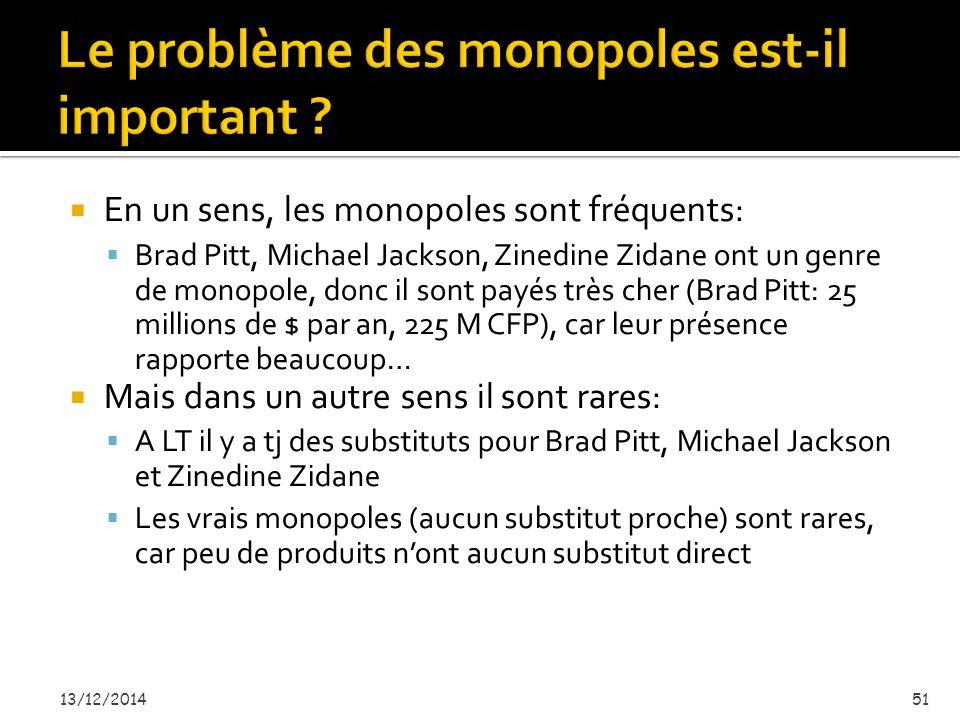  En un sens, les monopoles sont fréquents:  Brad Pitt, Michael Jackson, Zinedine Zidane ont un genre de monopole, donc il sont payés très cher (Brad Pitt: 25 millions de $ par an, 225 M CFP), car leur présence rapporte beaucoup…  Mais dans un autre sens il sont rares:  A LT il y a tj des substituts pour Brad Pitt, Michael Jackson et Zinedine Zidane  Les vrais monopoles (aucun substitut proche) sont rares, car peu de produits n'ont aucun substitut direct 13/12/201451
