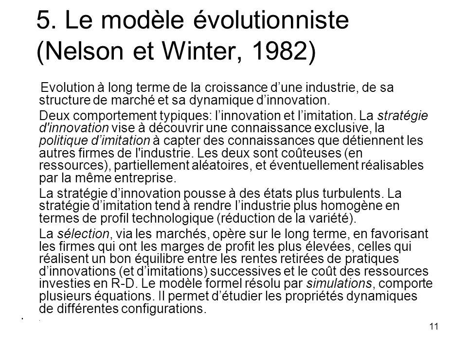 11 5. Le modèle évolutionniste (Nelson et Winter, 1982) Evolution à long terme de la croissance d'une industrie, de sa structure de marché et sa dynam
