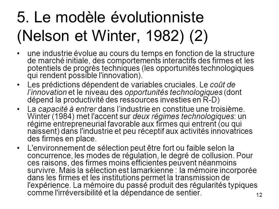 12 5. Le modèle évolutionniste (Nelson et Winter, 1982) (2) une industrie évolue au cours du temps en fonction de la structure de marché initiale, des