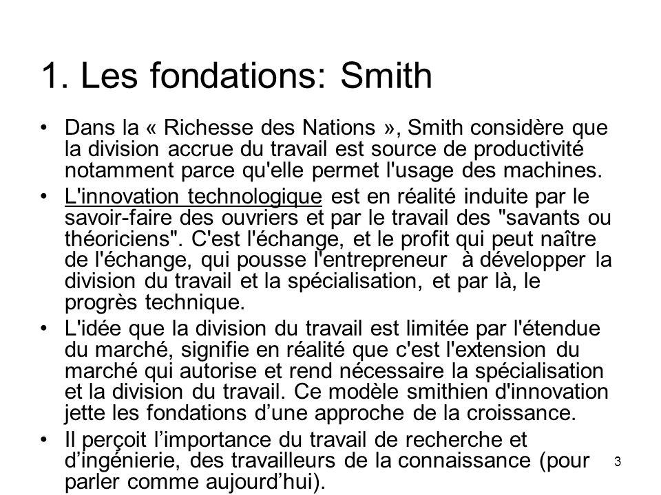 3 1. Les fondations: Smith Dans la « Richesse des Nations », Smith considère que la division accrue du travail est source de productivité notamment pa