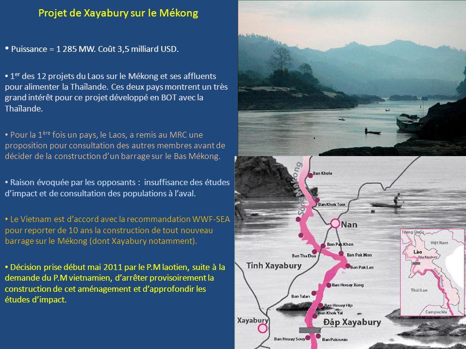 Projet de Xayabury sur le Mékong Puissance = 1 285 MW. Coût 3,5 milliard USD. 1 er des 12 projets du Laos sur le Mékong et ses affluents pour alimente