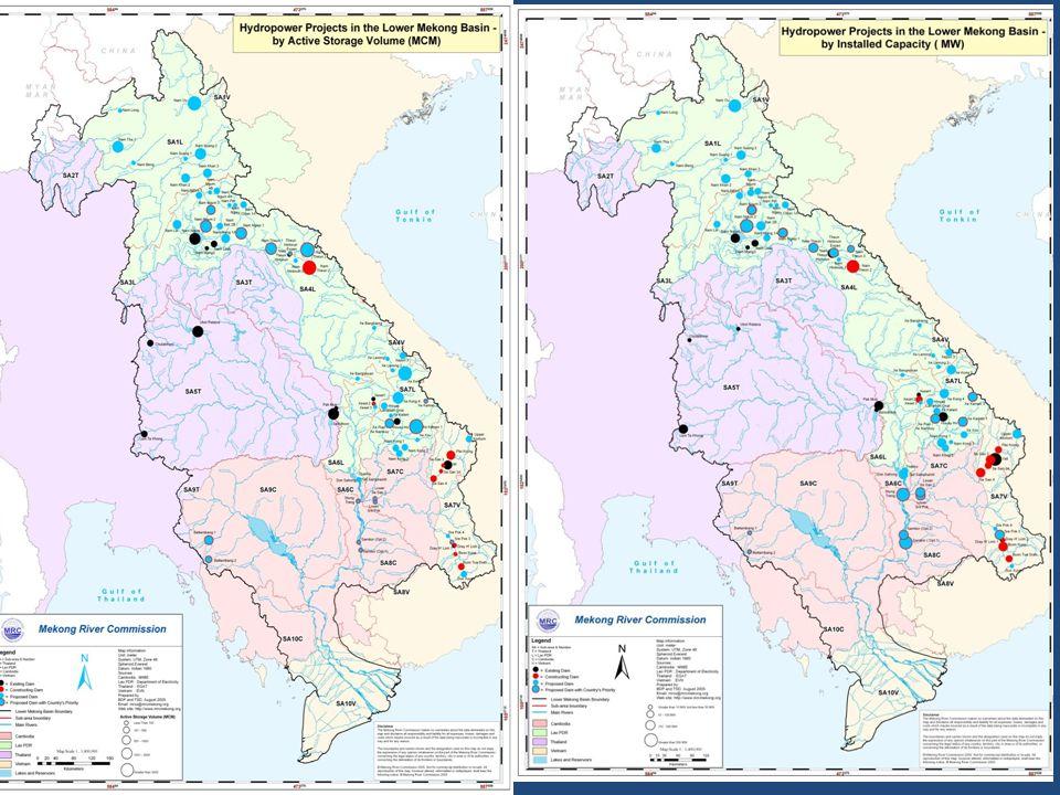 L'aménagement de Nam Theun 2 au Laos Barrage-poids de 39 m de hauteur, réservoir d'une surface de 450 km 2 et un volume de 3 500 hm 3, bassin de démodulation de 8 hm 3 et un canal à l'aval de la centrale de 27 km conduisant à la rivière Xe Bang Fai.