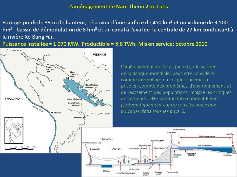 L'aménagement de Nam Theun 2 au Laos Barrage-poids de 39 m de hauteur, réservoir d'une surface de 450 km 2 et un volume de 3 500 hm 3, bassin de démod