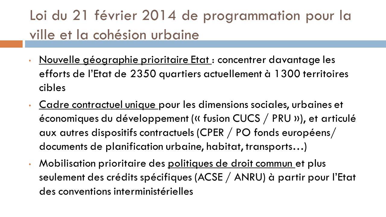 Loi du 21 février 2014 de programmation pour la ville et la cohésion urbaine Nouvelle géographie prioritaire Etat : concentrer davantage les efforts d
