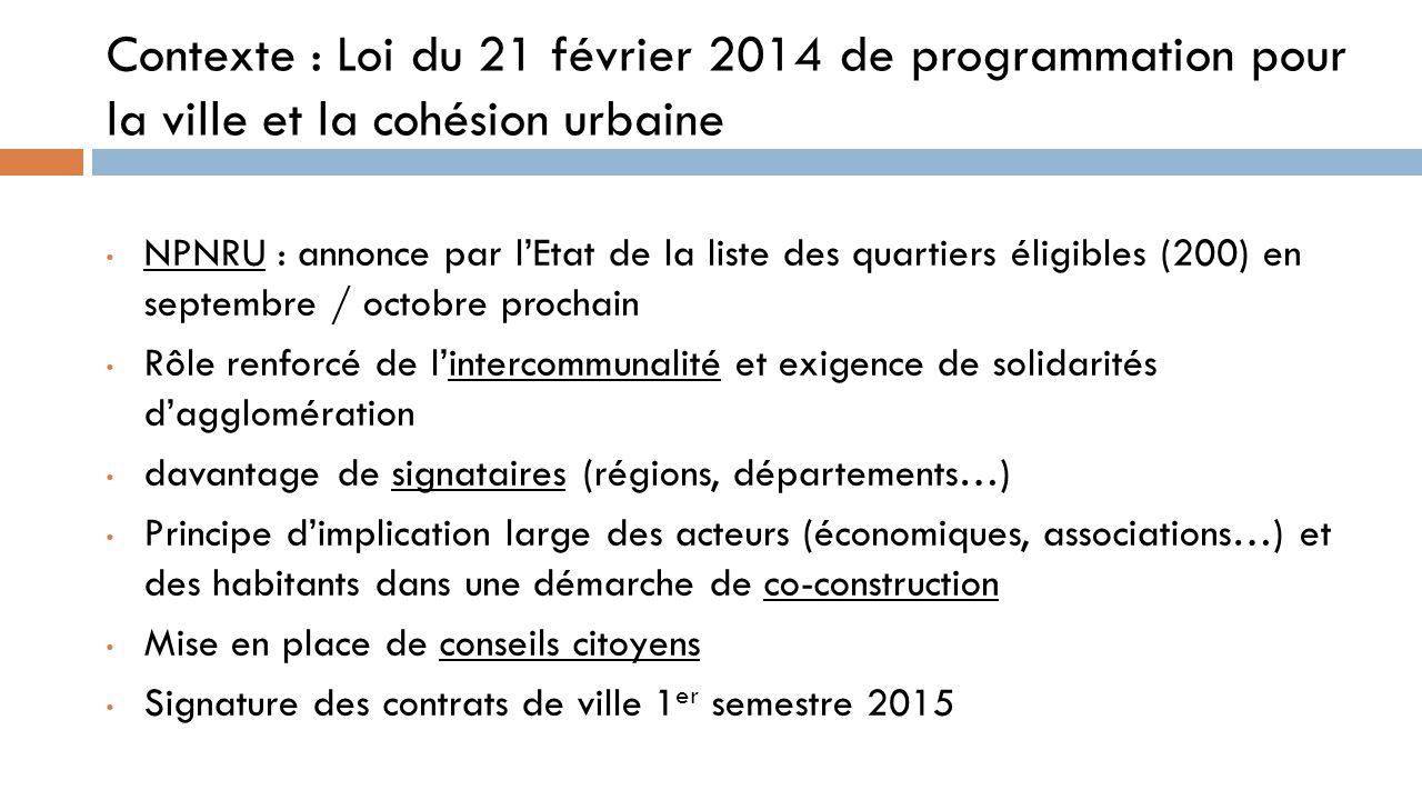 Contexte : Loi du 21 février 2014 de programmation pour la ville et la cohésion urbaine NPNRU : annonce par l'Etat de la liste des quartiers éligibles