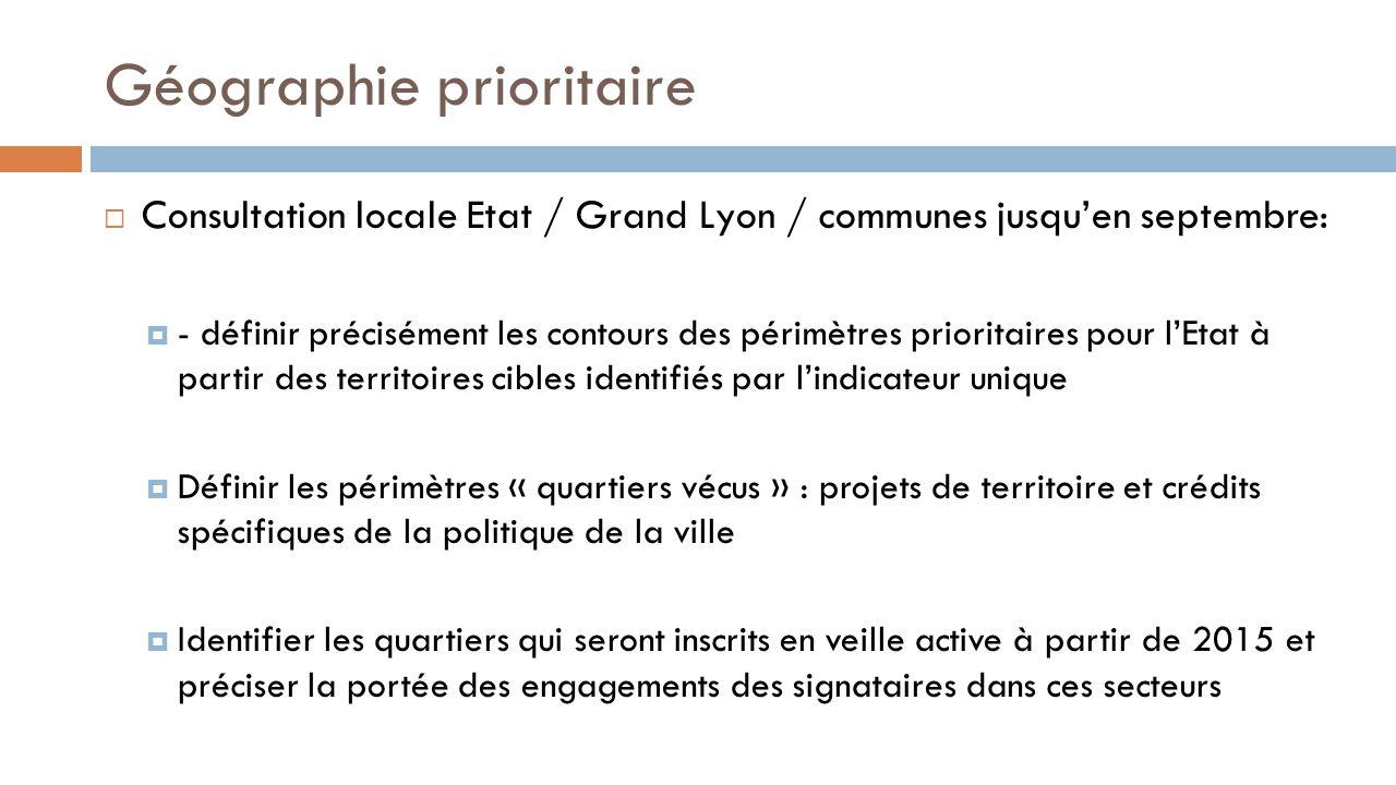 Géographie prioritaire  Consultation locale Etat / Grand Lyon / communes jusqu'en septembre:  - définir précisément les contours des périmètres prio