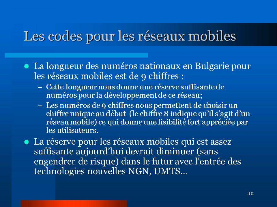 10 Les codes pour les réseaux mobiles La longueur des numéros nationaux en Bulgarie pour les réseaux mobiles est de 9 chiffres : –Cette longueur nous donne une réserve suffisante de numéros pour la développement de ce réseau; –Les numéros de 9 chiffres nous permettent de choisir un chiffre unique au début (le chiffre 8 indique qu'il s'agit d'un réseau mobile) ce qui donne une lisibilité fort appréciée par les utilisateurs.
