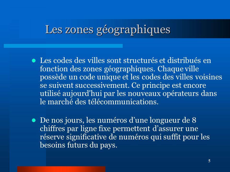 5 Les zones géographiques Les codes des villes sont structurés et distribués en fonction des zones géographiques.
