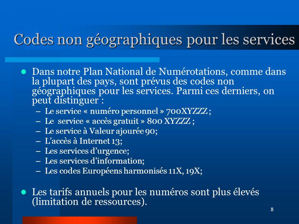 8 Codes non géographiques pour les services Dans notre Plan National de Numérotations, comme dans la plupart des pays, sont prévus des codes non géographiques pour les services.