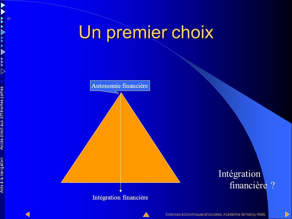 Accès direct aux différentes parties Sciences économiques et sociales, Académie de Nancy-Metz Aide à la navigation Un premier choix Autonomie financiè