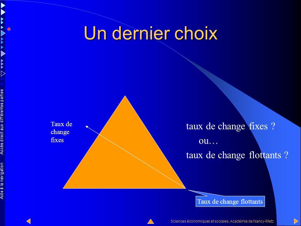 Accès direct aux différentes parties Sciences économiques et sociales, Académie de Nancy-Metz Aide à la navigation Un second choix union monétaire ? o