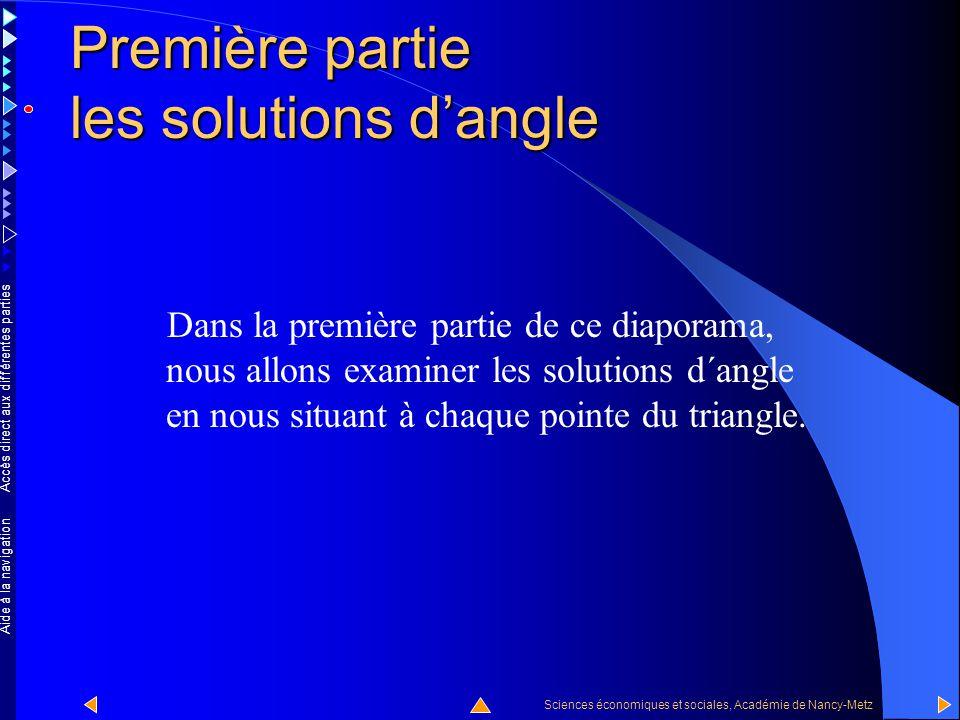 Accès direct aux différentes parties Sciences économiques et sociales, Académie de Nancy-Metz Aide à la navigation Les trois cas de figures envisagés correspondent aux trois sommets du triangle qu'on peut appeler des solutions d'angle.