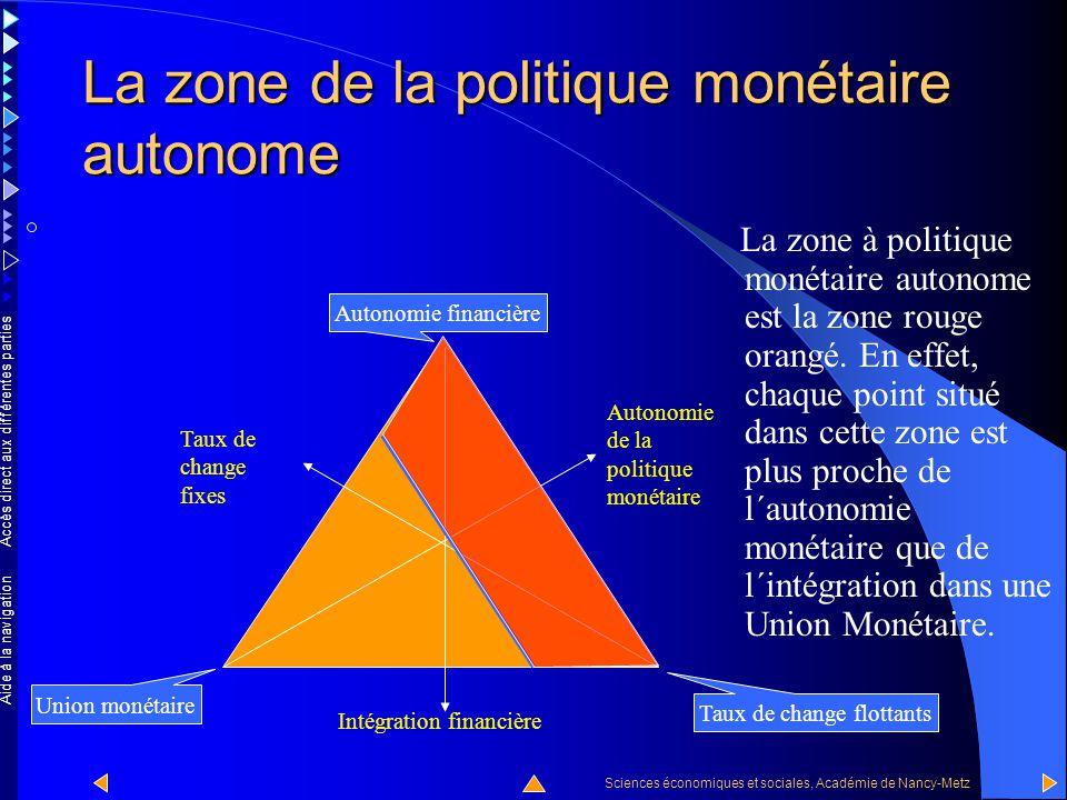 Accès direct aux différentes parties Sciences économiques et sociales, Académie de Nancy-Metz Aide à la navigation La zone de la politique monétaire autonome La zone à politique monétaire autonome se situe à droite du trait bleu.