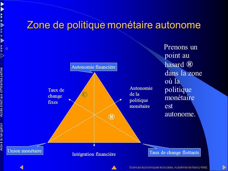 Accès direct aux différentes parties Sciences économiques et sociales, Académie de Nancy-Metz Aide à la navigation La zone de la politique monétaire autonome La zone à politique monétaire autonome est la zone rouge orangé.
