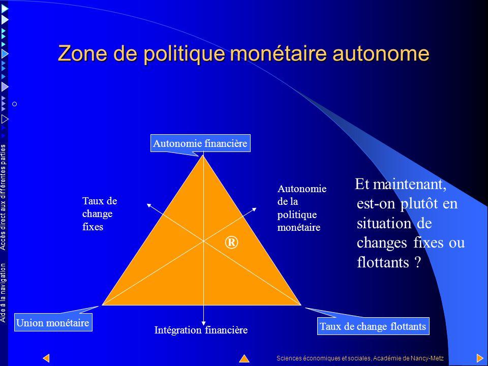 Accès direct aux différentes parties Sciences économiques et sociales, Académie de Nancy-Metz Aide à la navigation Zone de politique monétaire autonome Nous pouvons vérifier que le point est situé dans la zone de politique monétaire autonome car la flèche verte est plus courte que la flèche bleue.