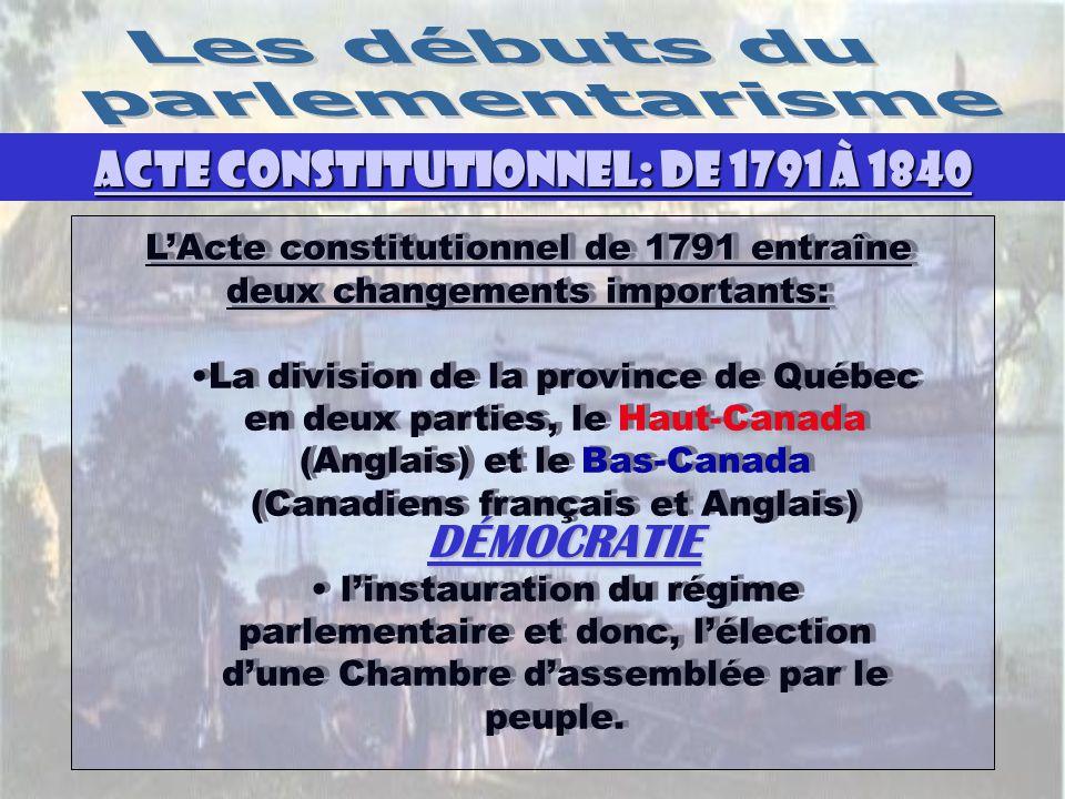ACTE CONSTITUTIONNEL: DE 1791 À 1840 DÉMOCRATIE L'Acte constitutionnel de 1791 entraîne deux changements importants: La division de la province de Québec en deux parties, le Haut-Canada (Anglais) et le Bas-Canada (Canadiens français et Anglais) l'instauration du régime parlementaire et donc, l'élection d'une Chambre d'assemblée par le peuple.