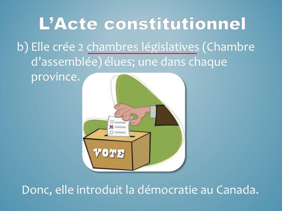 b)Elle crée 2 chambres législatives (Chambre d'assemblée) élues; une dans chaque province.