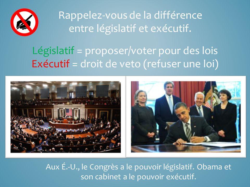 Rappelez-vous de la différence entre législatif et exécutif.