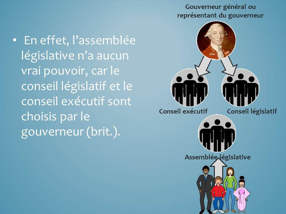 En effet, l'assemblée législative n'a aucun vrai pouvoir, car le conseil législatif et le conseil exécutif sont choisis par le gouverneur (brit.).