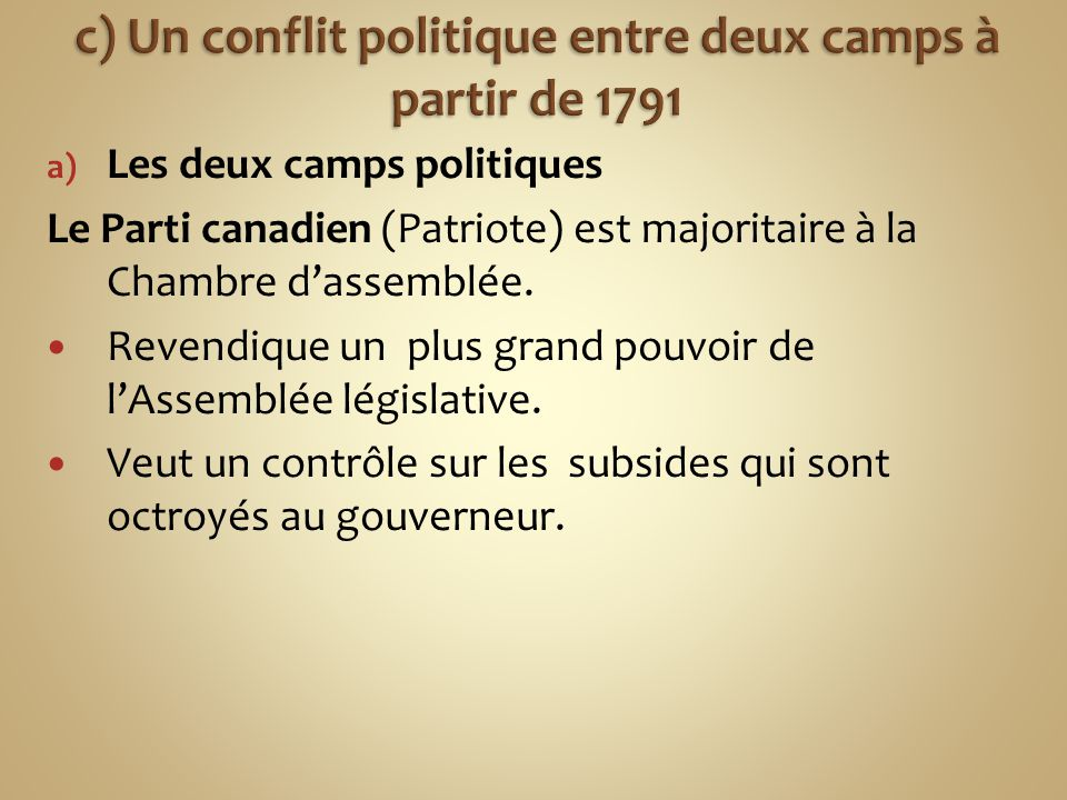 a) Les deux camps politiques Le Parti canadien (Patriote) est majoritaire à la Chambre d'assemblée.