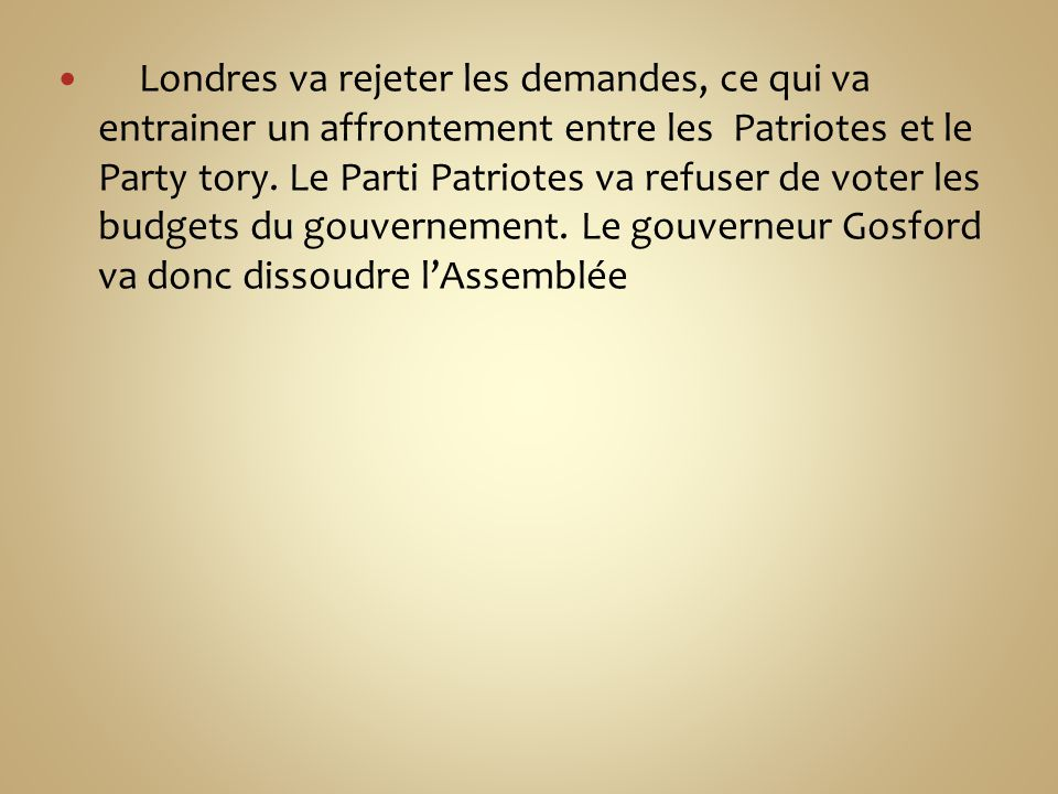 Londres va rejeter les demandes, ce qui va entrainer un affrontement entre les Patriotes et le Party tory.