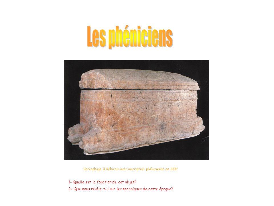 Sarcophage d'Adhiram avec inscription phénicienne an 1000 1- Quelle est la fonction de cet objet? 2- Que nous révèle t-il sur les techniques de cette