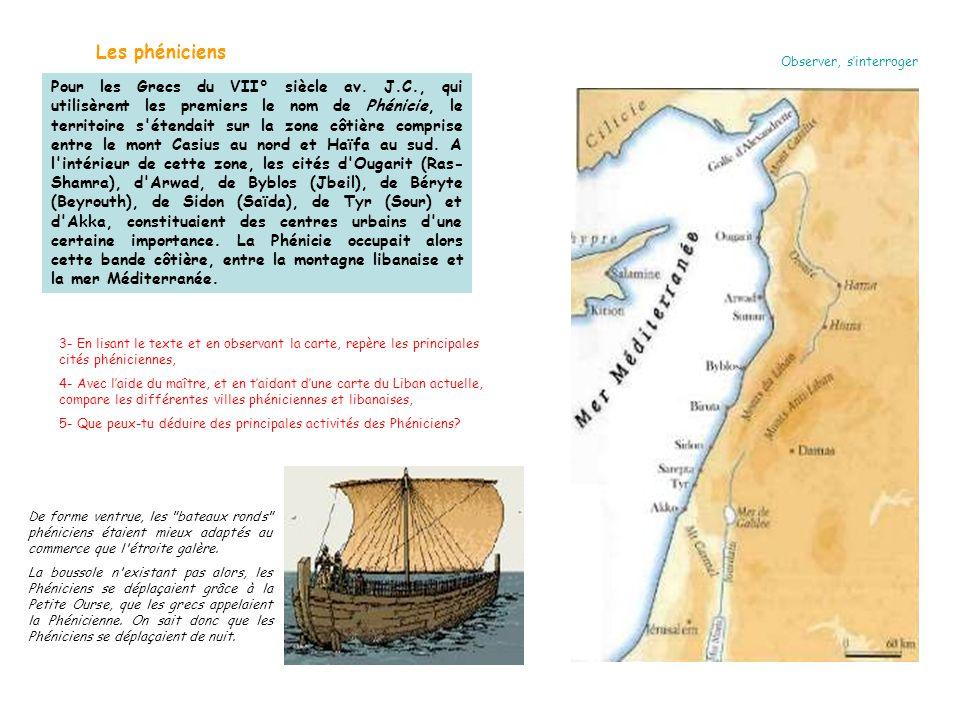 Observer, s'interroger Les phéniciens Pour les Grecs du VII° siècle av. J.C., qui utilisèrent les premiers le nom de Phénicie, le territoire s'étendai