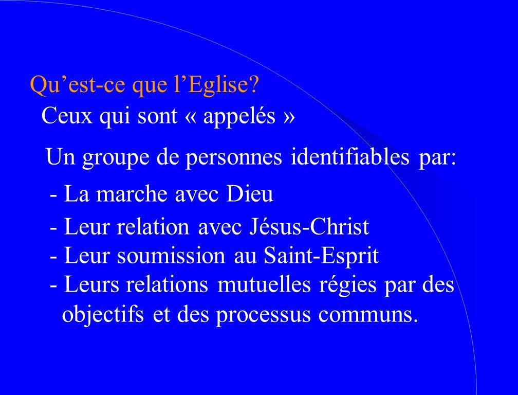 Qu'est-ce que l'Eglise? Ceux qui sont « appelés » Un groupe de personnes identifiables par: - La marche avec Dieu - Leur relation avec Jésus-Christ -
