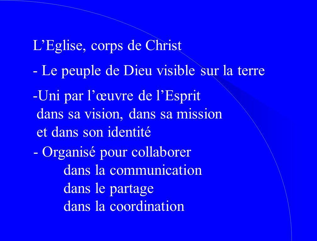 L'Eglise, corps de Christ - Le peuple de Dieu visible sur la terre -Uni par l'œuvre de l'Esprit dans sa vision, dans sa mission et dans son identité - Organisé pour collaborer dans la communication dans le partage dans la coordination