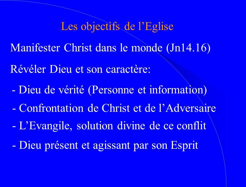 Les objectifs de l'Eglise Manifester Christ dans le monde (Jn14.16) Révéler Dieu et son caractère: - Dieu de vérité (Personne et information) - Confro