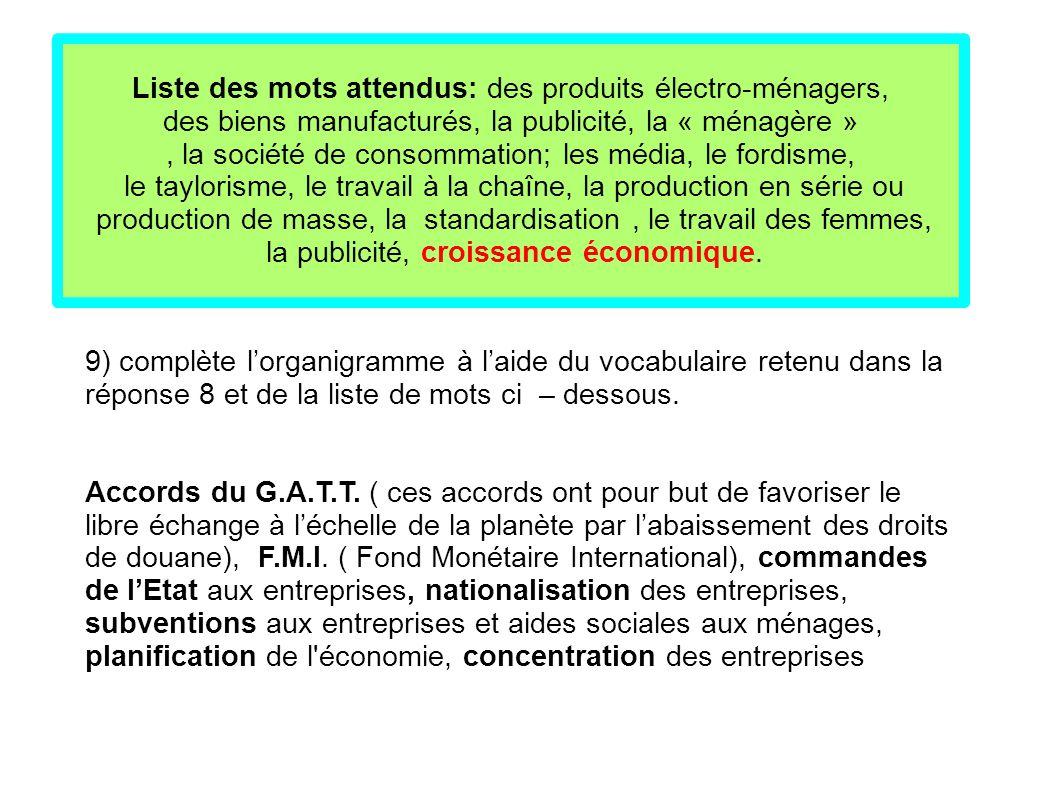 9) complète l'organigramme à l'aide du vocabulaire retenu dans la réponse 8 et de la liste de mots ci – dessous. Accords du G.A.T.T. ( ces accords ont