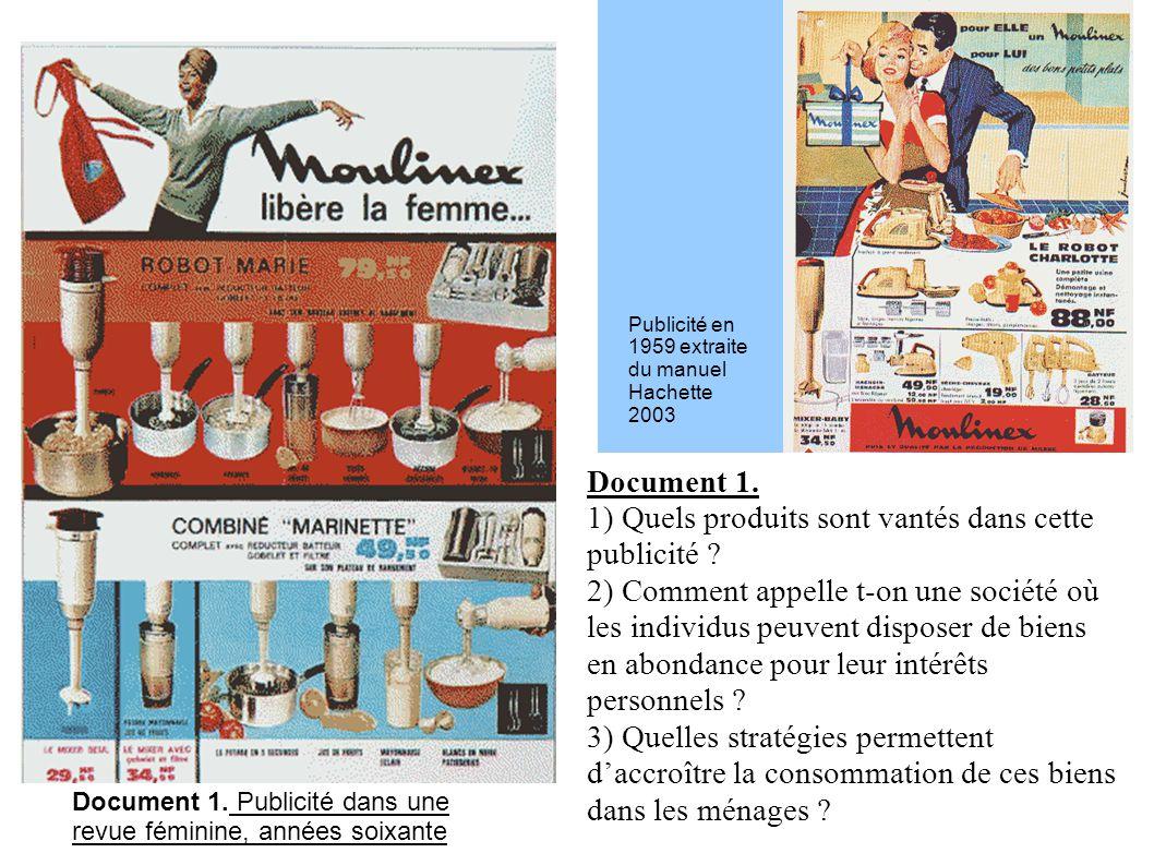 Document 1. Publicité dans une revue féminine, années soixante Document 1. 1) Quels produits sont vantés dans cette publicité ? 2) Comment appelle t-o