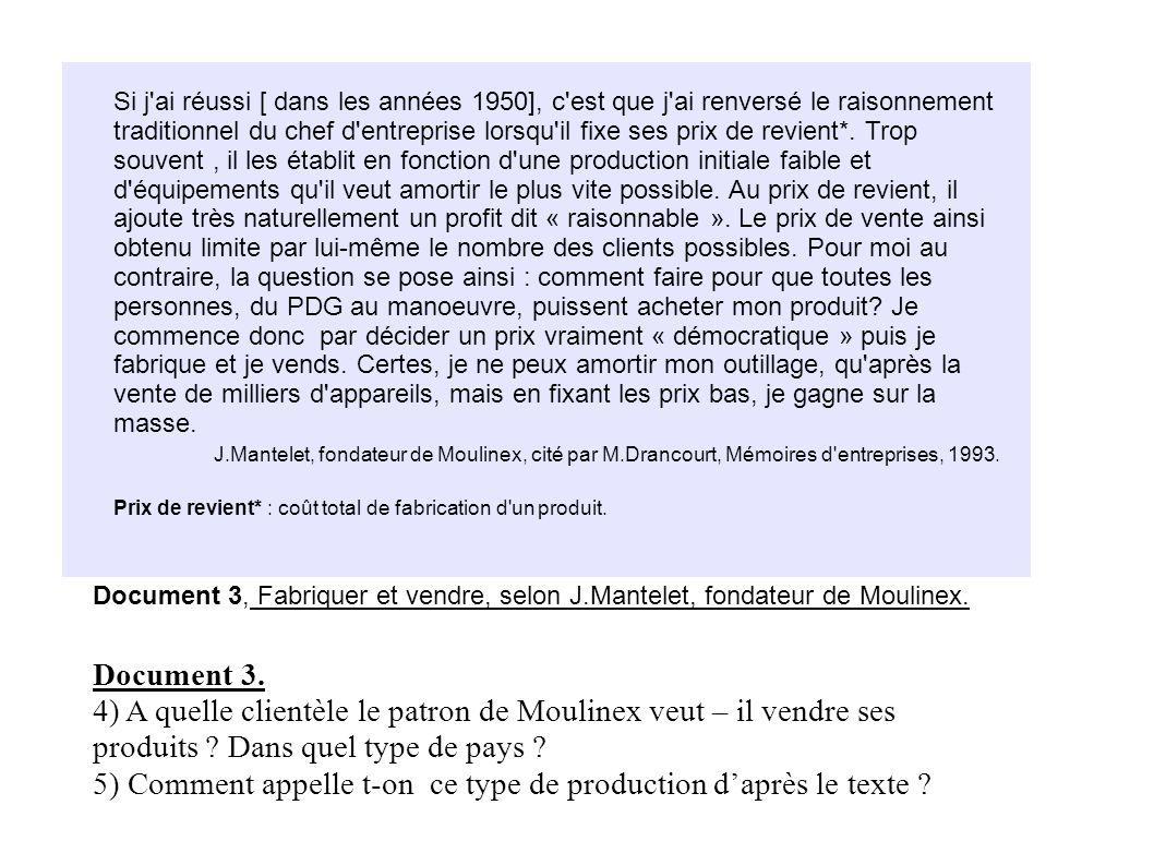 Document 3. 4) A quelle clientèle le patron de Moulinex veut – il vendre ses produits ? Dans quel type de pays ? 5) Comment appelle t-on ce type de pr