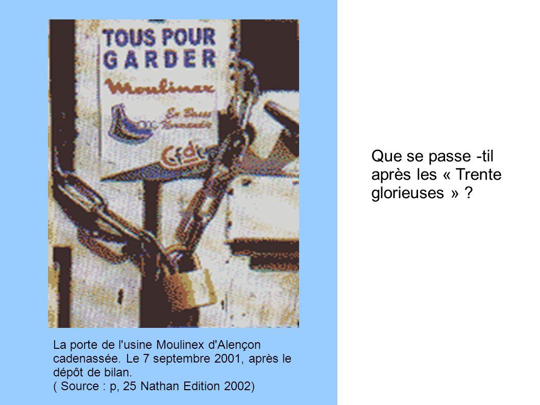 La porte de l'usine Moulinex d'Alençon cadenassée. Le 7 septembre 2001, après le dépôt de bilan. ( Source : p, 25 Nathan Edition 2002) Que se passe -t