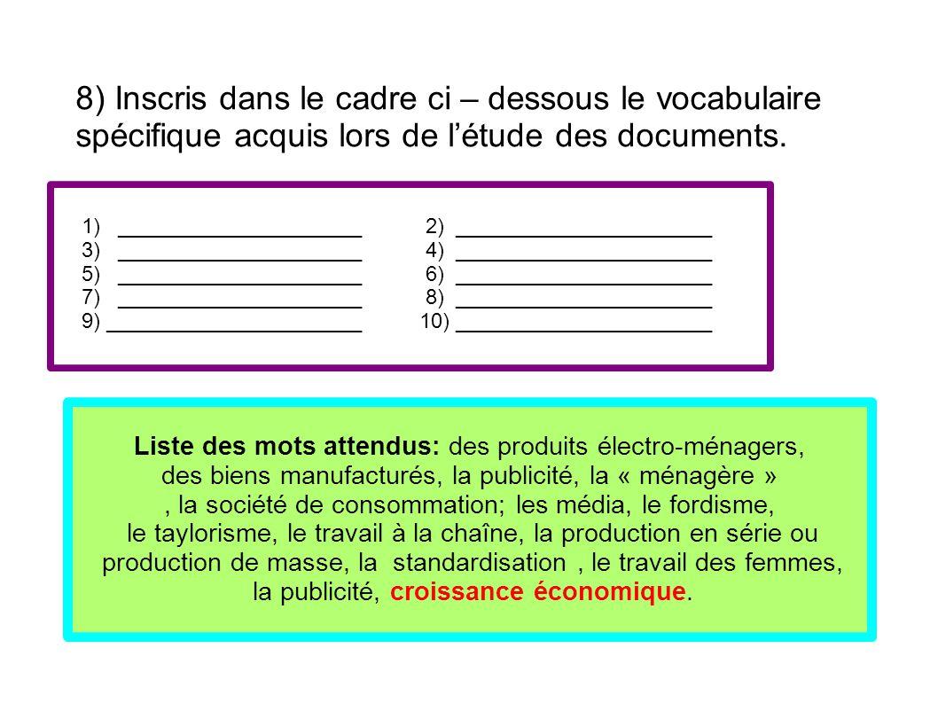 8) Inscris dans le cadre ci – dessous le vocabulaire spécifique acquis lors de l'étude des documents. 1) _____________________ 2) ____________________