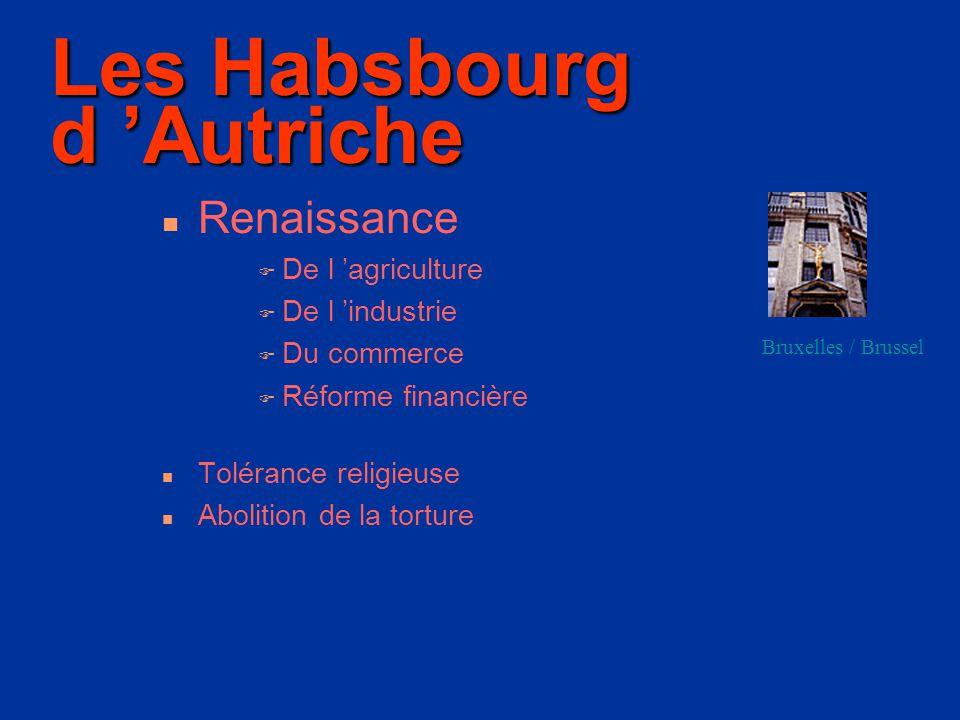 Les Habsbourg d 'Autriche Renaissance DDe l 'agriculture DDe l 'industrie DDu commerce RRéforme financière Tolérance religieuse Abolition de la torture Bruxelles / Brussel