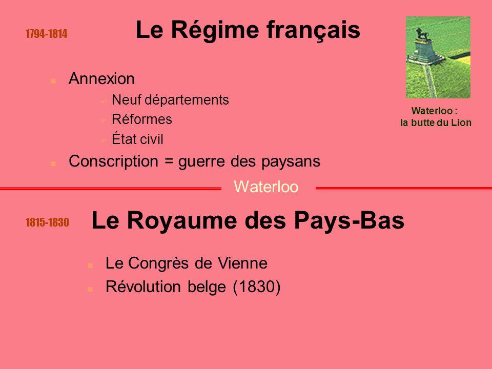 Le Régime français Annexion  Neuf départements  Réformes  État civil Conscription = guerre des paysans Le Congrès de Vienne Révolution belge (1830)