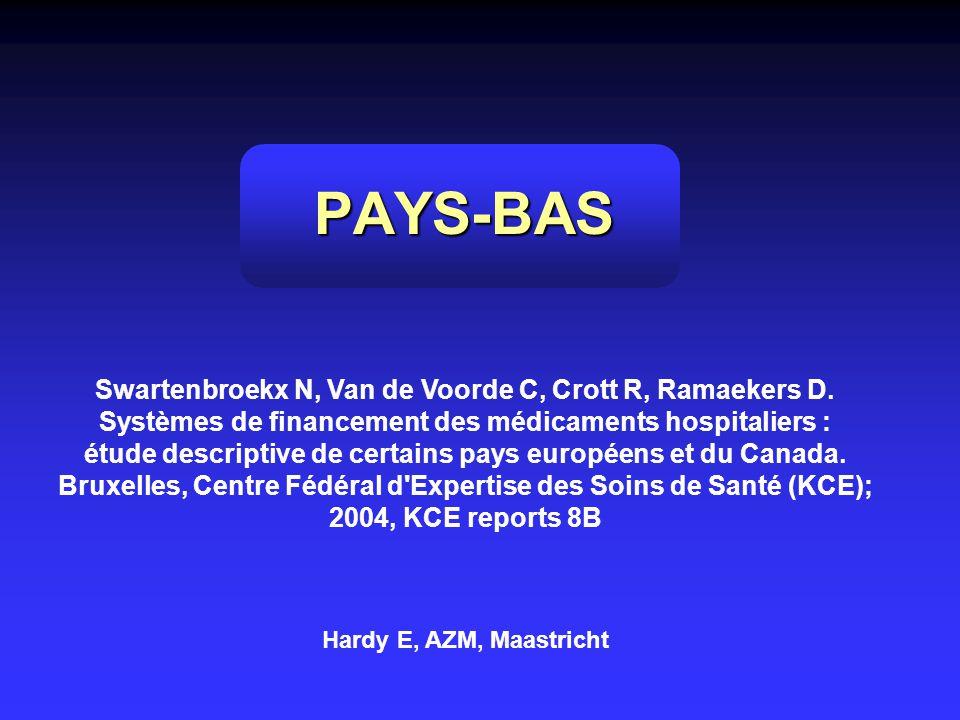 PAYS-BAS Swartenbroekx N, Van de Voorde C, Crott R, Ramaekers D. Systèmes de financement des médicaments hospitaliers : étude descriptive de certains