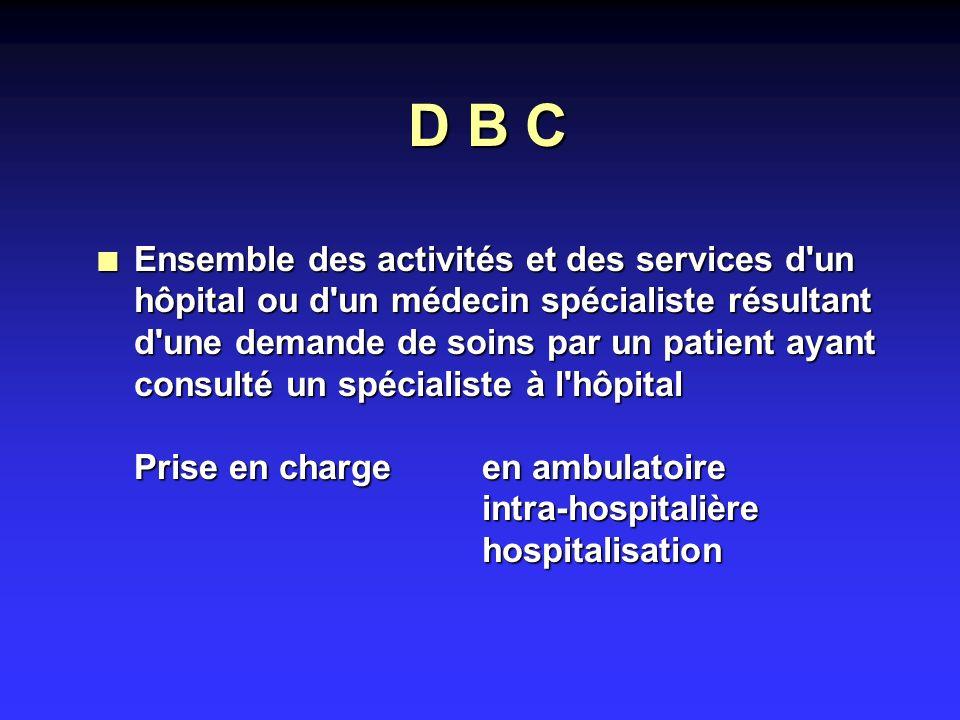 D B C n Ensemble des activités et des services d un hôpital ou d un médecin spécialiste résultant d une demande de soins par un patient ayant consulté un spécialiste à l hôpital Prise en charge en ambulatoire intra-hospitalière hospitalisation