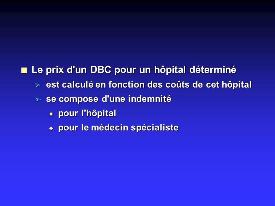n Le prix d un DBC pour un hôpital déterminé ã est calculé en fonction des coûts de cet hôpital ã se compose d une indemnité F pour l hôpital F pour le médecin spécialiste