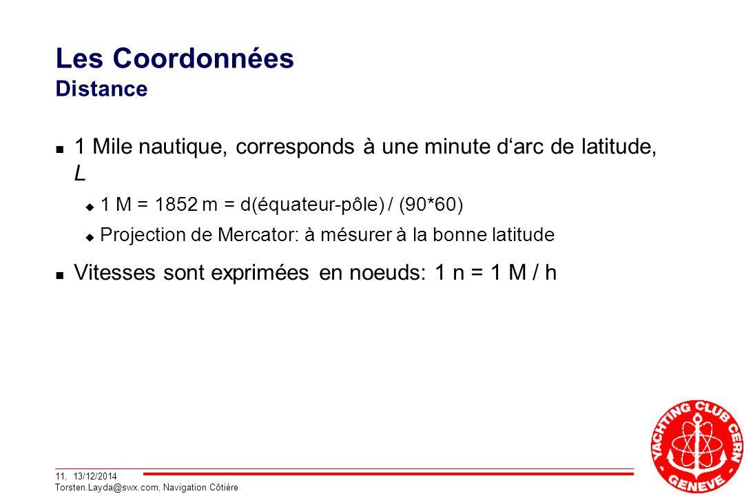 11, 13/12/2014 Torsten.Layda@swx.com, Navigation Côtière Les Coordonnées Distance 1 Mile nautique, corresponds à une minute d'arc de latitude, L  1 M = 1852 m = d(équateur-pôle) / (90*60)  Projection de Mercator: à mésurer à la bonne latitude Vitesses sont exprimées en noeuds: 1 n = 1 M / h