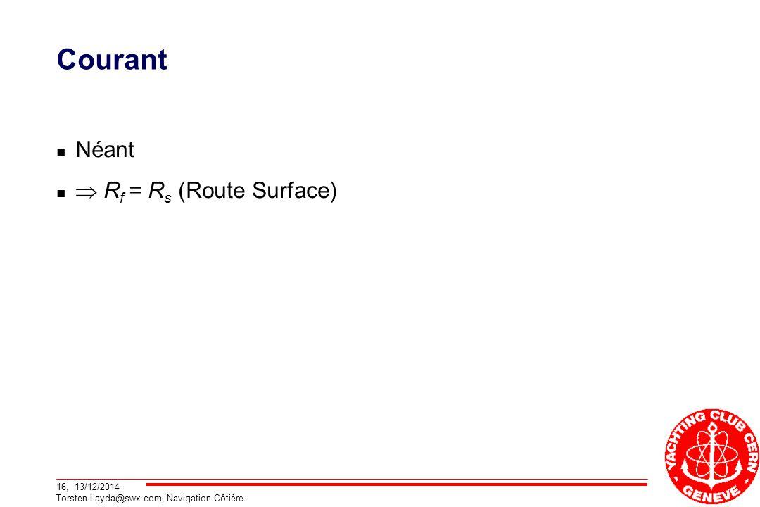 16, 13/12/2014 Torsten.Layda@swx.com, Navigation Côtière Courant Néant  R f = R s (Route Surface)