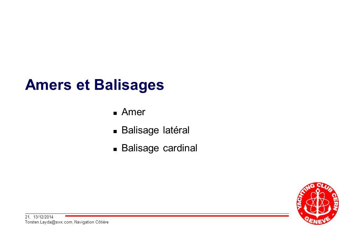 21, 13/12/2014 Torsten.Layda@swx.com, Navigation Côtière Amers et Balisages Amer Balisage latéral Balisage cardinal