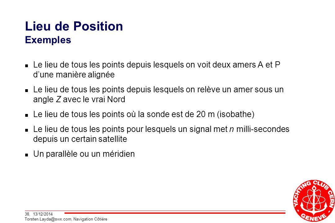 38, 13/12/2014 Torsten.Layda@swx.com, Navigation Côtière Lieu de Position Exemples Le lieu de tous les points depuis lesquels on voit deux amers A et P d'une manière alignée Le lieu de tous les points depuis lesquels on relève un amer sous un angle Z avec le vrai Nord Le lieu de tous les points où la sonde est de 20 m (isobathe) Le lieu de tous les points pour lesquels un signal met n milli-secondes depuis un certain satellite Un parallèle ou un méridien