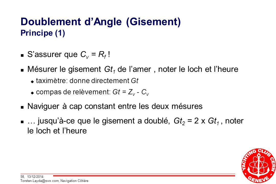 58, 13/12/2014 Torsten.Layda@swx.com, Navigation Côtière Doublement d'Angle (Gisement) Principe (1) S'assurer que C v = R f .