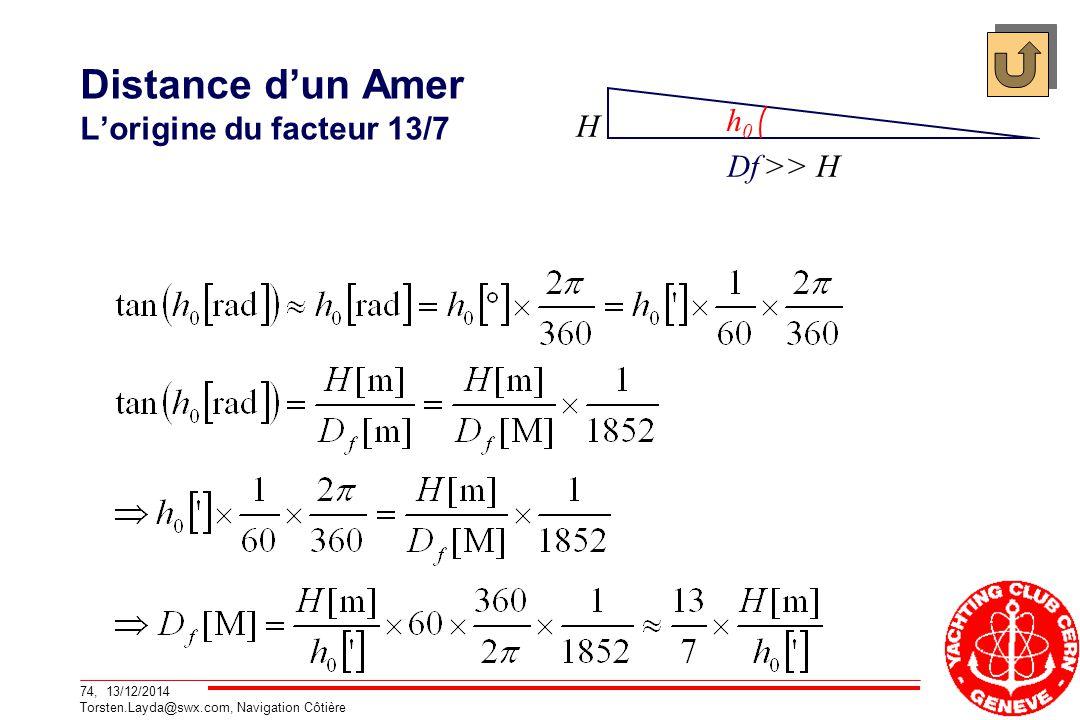 74, 13/12/2014 Torsten.Layda@swx.com, Navigation Côtière Distance d'un Amer L'origine du facteur 13/7 H Df >> H h0h0