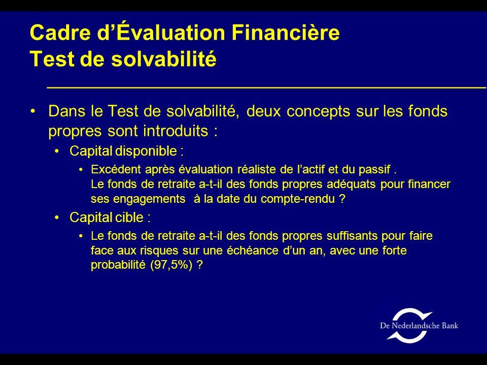 Cadre d'Évaluation Financière Test de solvabilité Dans le Test de solvabilité, deux concepts sur les fonds propres sont introduits : Capital disponible : Excédent après évaluation réaliste de l'actif et du passif.