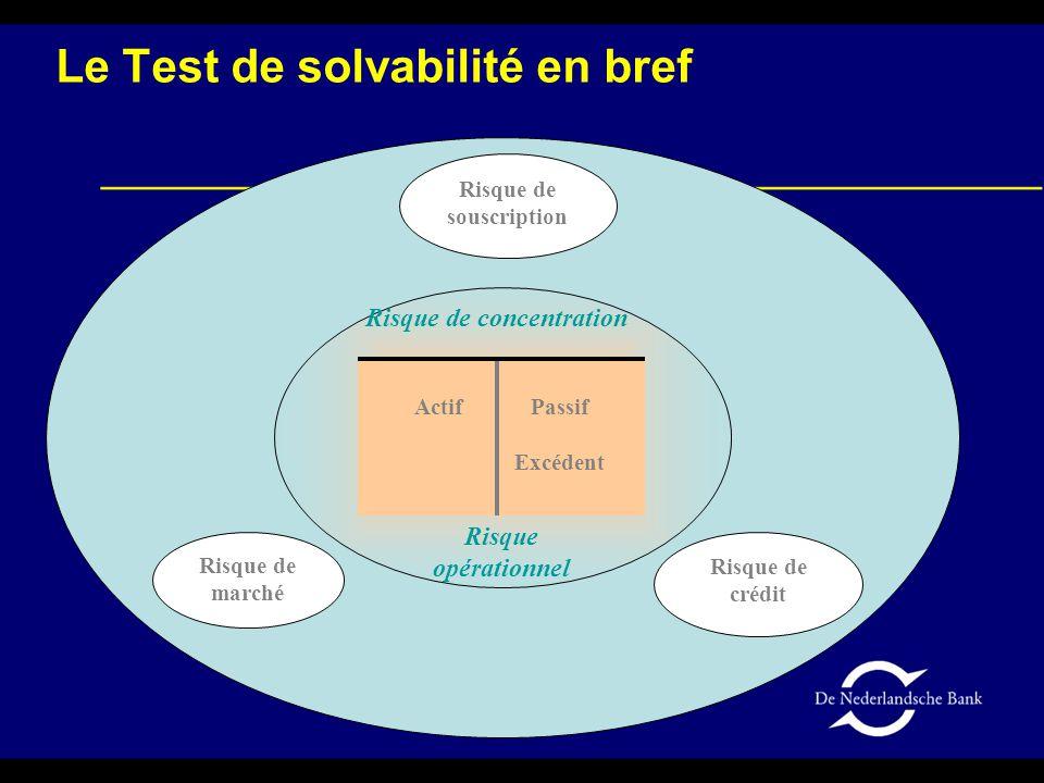 Risque de marché Risque de souscription Risque de crédit Actif Passif Excédent Risque opérationnel Risque de concentration Le Test de solvabilité en bref