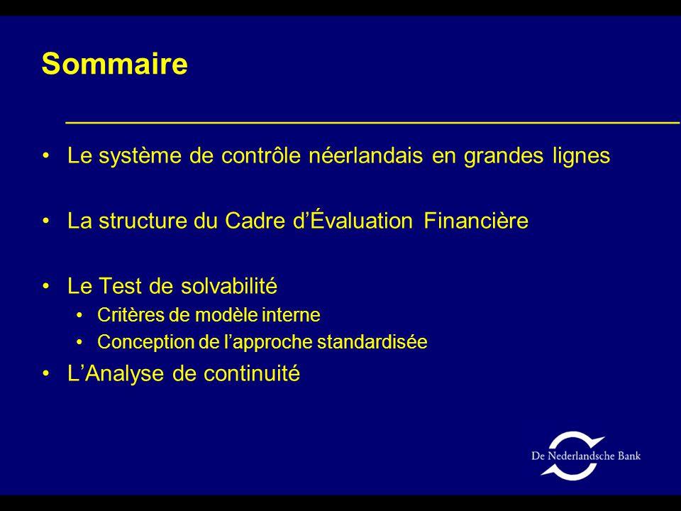 Sommaire Le système de contrôle néerlandais en grandes lignes La structure du Cadre d'Évaluation Financière Le Test de solvabilité Critères de modèle interne Conception de l'approche standardisée L'Analyse de continuité